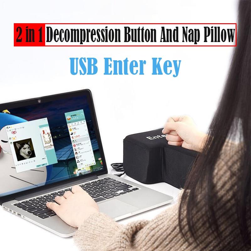 USB Enter Key Anti Stress Decompression Button Nap Desktop Pillow Return Key For Laptop PC Offices Programmer Big Vent Soft Toy