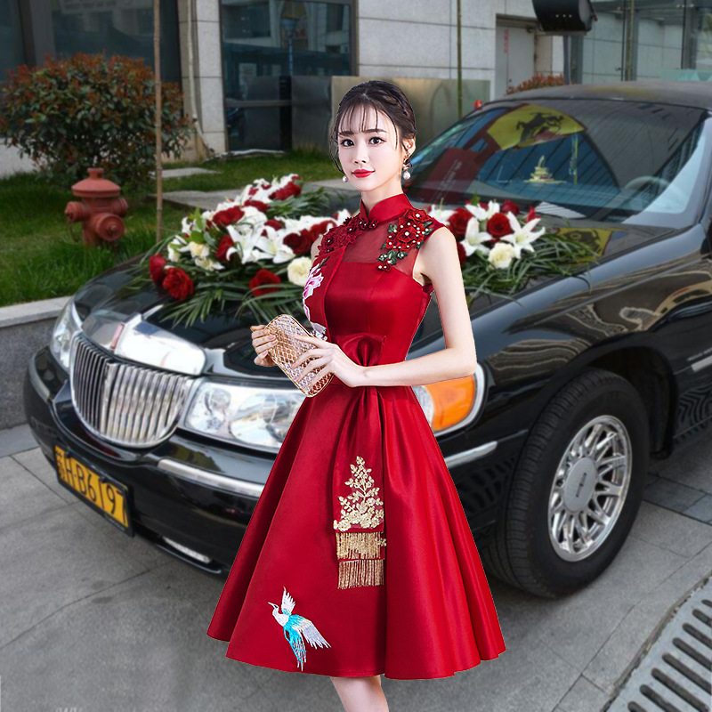 Dress For Toast Bride 2019 Autumn And Winter Marriage New Style Wedding Red Slim Fit Slimming Short Cheongsam Chinese Style Form