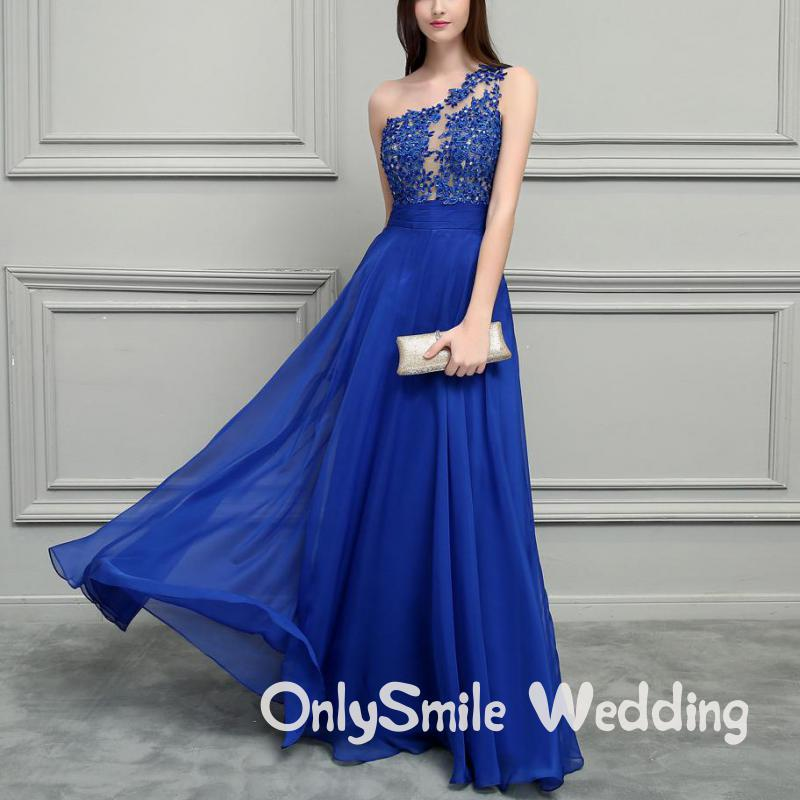 Royal Blue Chiffon Long Prom Dresses 2019 One Shoulder Lace Beaded Vintage Evening Dress Vestidos De Festa