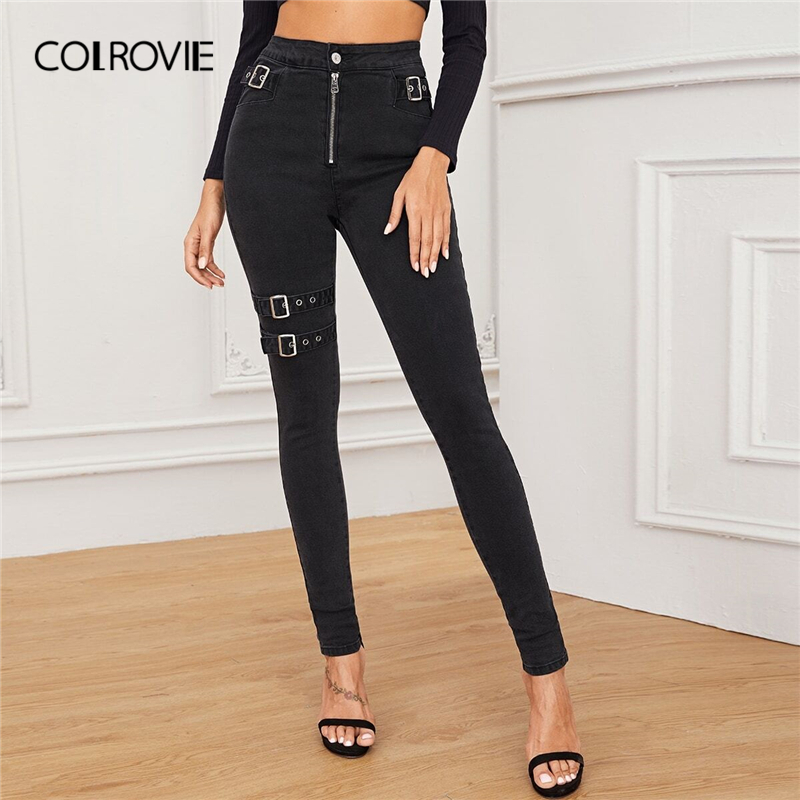COLROVIE Black Adjustable Belted Exposed Zip Front Jeans Women 2019 Fall High Waist Skinny Jeans Female Solid Casual Denim Pants