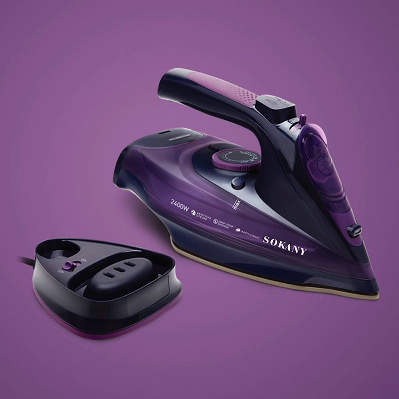 SOKANY 2400W/360ml Steam Iron 5 Speed Adjust Cordless Charging Portable Clothes Ironing Steamer Portable Ceramic Soleplate