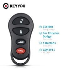KEYYOU-llave de Control remoto GQ43VT17T, reemplazo de 4 botones sin llave, 315Mhz, para Jeep Dodge Chrylser, 300M, 2001, 2002, 2003, 2004