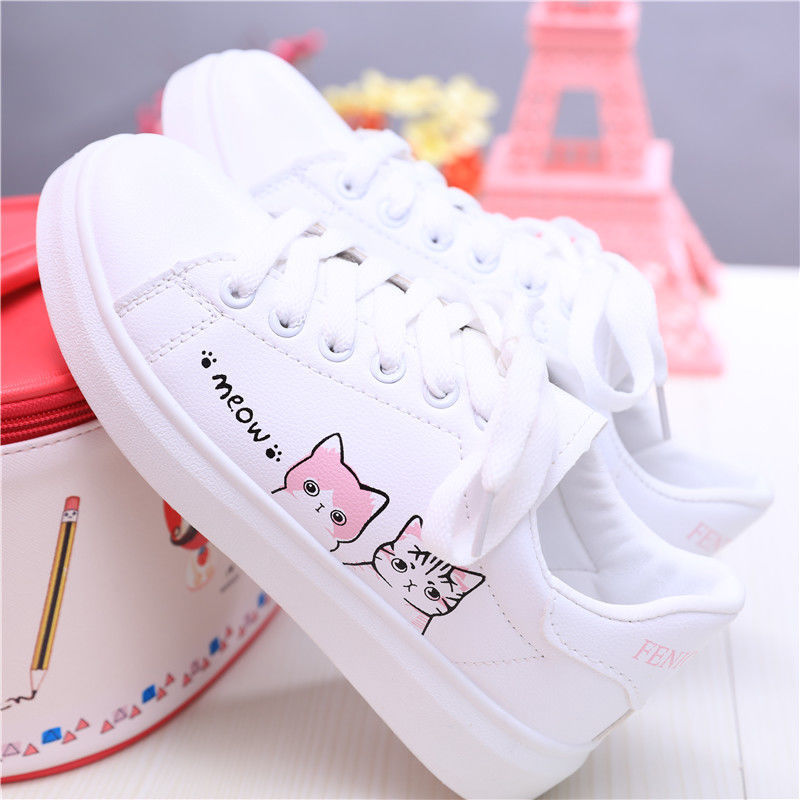 Autumn Girl Student Pupil Single Shoe Ventilation Skate Children Shoes White Girl Sneakers Cute Cat Embroidery Kids Casual Shoes