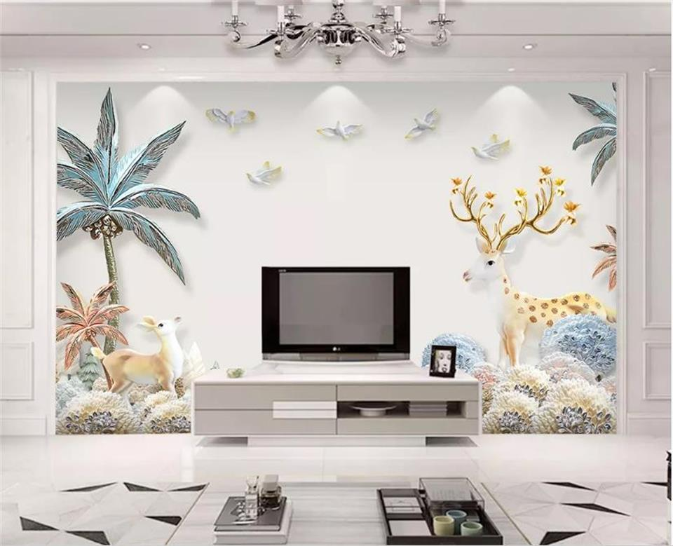 Taille personnalisée papier peint Mural en relief Elk richesse arbre 3D image toile de fond salon chambre Photo papier peint décor à la maison