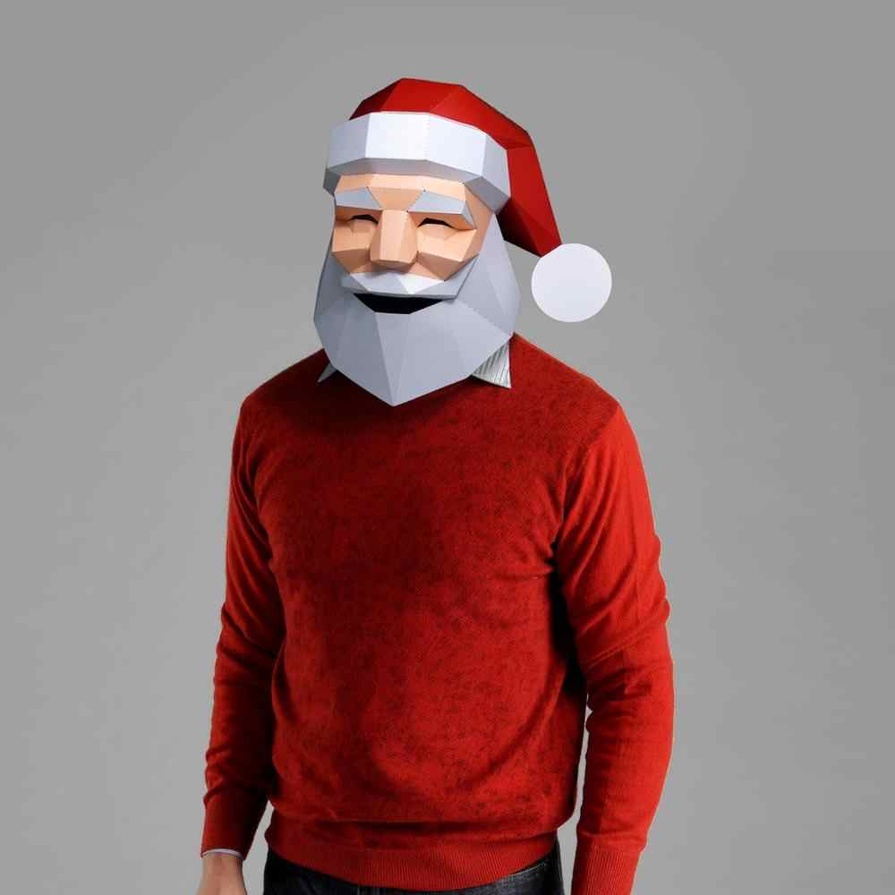 3d Paper Mask Fashion Santa Claus Costume Cosplay Diy Paper Craft Model Mask Christmas Halloween Prom Party Gift Aliexpress