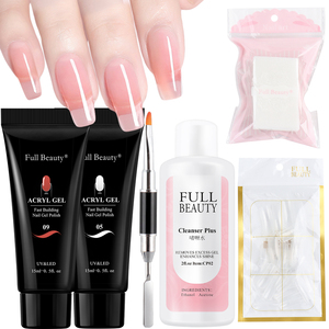 Nail Gel Extension Poly Set Crystal Clear Fast Building Gel Polish Quick UV Builder Acrylic Nails Art Form Tip Manicure TR1809-4