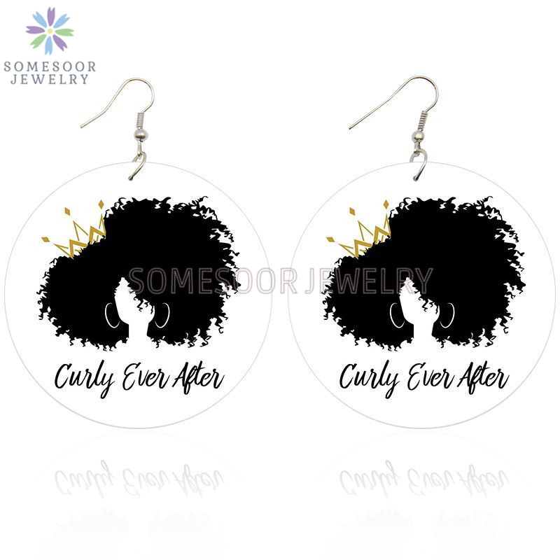 SOMESOOR Cruly Afro Queen Arts Painted Wooden Drop Earrings Unapologetic Black Natural Hair Handmade Wood Loops For Women Gifts