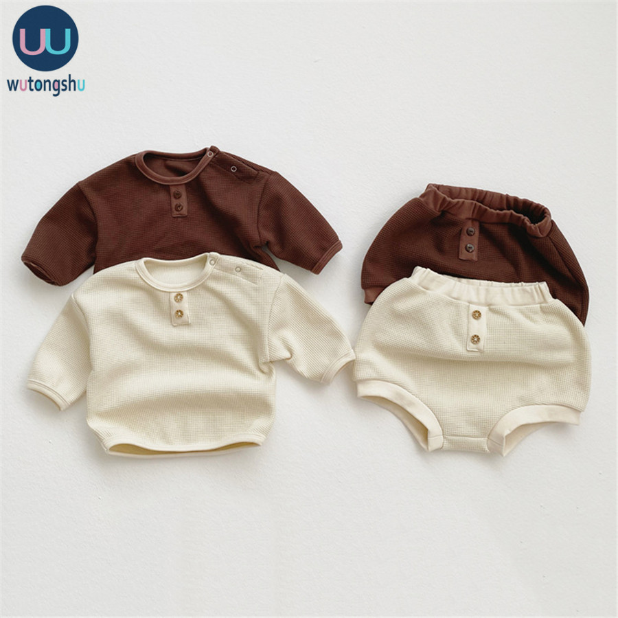 2Pcs Infant <font><b>Baby</b></font> Girls Boys Clothes Set Solid <font><b>Ribbed</b></font> Cotton Long Sleeve <font><b>TShirts</b></font> +Pants Outfits Suit Casual Newborn <font><b>Baby</b></font> Clothing image