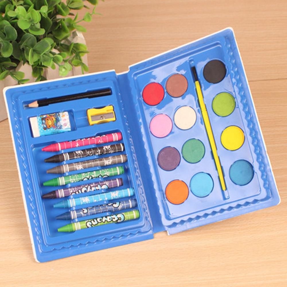 24pcs Kids Gift Stationery Watercolor Pen Painting Set Portable Pigment Professional School Art Supplies Crayon Combination