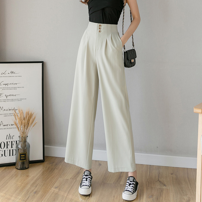 High Waist Chiffon Wide Pants Women's 2020 Summer New Korean Version Slim Ladies Pants Solid Black Loose Pants Trousers Women