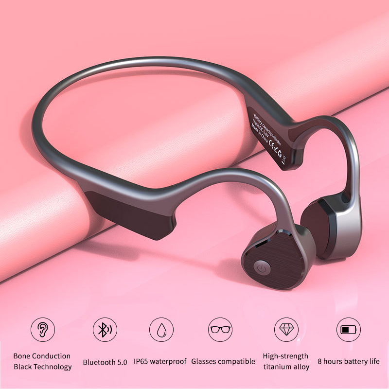 Suitable for Xiaomi Huawei Apple Bone Conduction Wireless Headphones Bluetooth Stereo Waterproof MP3 with Voice Control