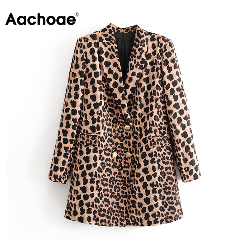 Aachoae 2020 Spring Women Leopard Blazer Vintage Jacket Coat Notched Collar Long Sleeve Office Lady Double Breasted Blazers Suit