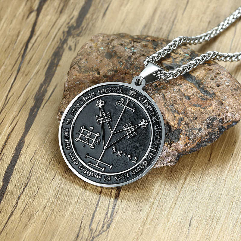 Pieczęć salomona wisiorek stal nierdzewna czwarty pentagram jowisza Solomon Seals naszyjnik dla mężczyzn biżuteria