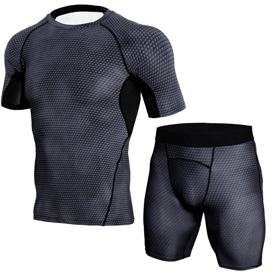 running - Men's camouflage thermal underwear set Short sleeve thermal underwear base layer male sports compression shirts