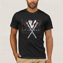 Cool Mens Vikings T Shirts Pure Cotton Plus Size Axe T-shirt For Man  Clothes Popular T-Shirt Crewneck