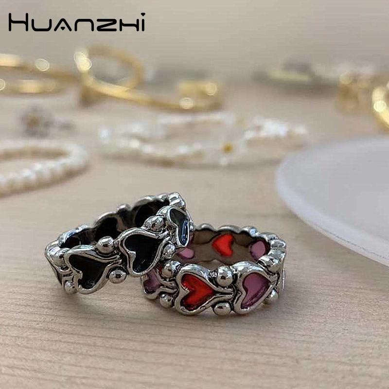 HUANZHI 2020, новинка, индивидуальность, барокко, Ретро стиль, хит, цвет, сердце, металлические кольца для женщин, девушек, вечерние ювелирные изде...