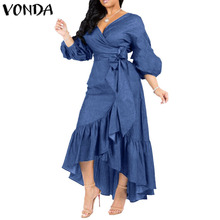 VONDA Summer Long Maxi Dress Women 2020 Sexy V Neck 3/4 Lantern Sleeve Dresses Casual Loose Bohemian Sundress Plus Size Vestidos