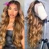 Perruque Lace wig Body Wave naturelle malaisienne – Ali Coco, cheveux humains, brun blond 1B 27, 13x4, pre-plucked, noeuds décolorés
