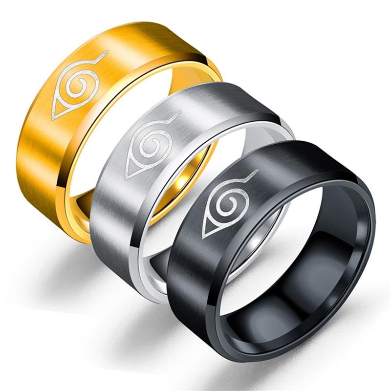 2020 New Comic 8mm Naruto Sign Stainless Steel Brushed Ring Black Finger Rings For Men Women Wholesale