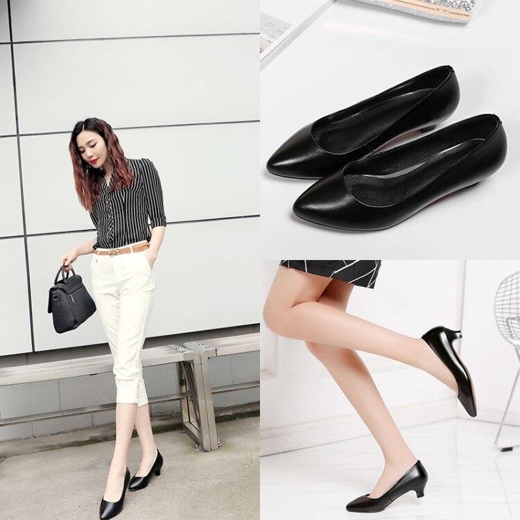 Zapatos de trabajo de cuero genuino zapatos de azafata de línea aérea zapatos de tacón bajo zapatos de punta plana zapatos individuales zapatos de mujer Social