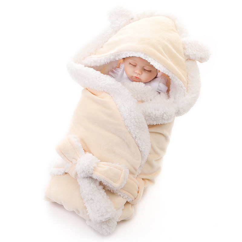 Baby Blanket New Brand Thicken Layer Coral Fleece Infant Swaddle Envelope Stroller Wrap For Newborn Baby Bedding Blankets
