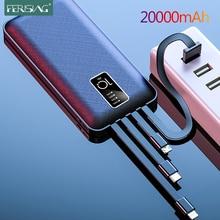 FERISING 20000mAh Power Bank LED Digital Display USB External 10000 20000 mah Pover banks Battery Portable Powerbank for Xiaomi