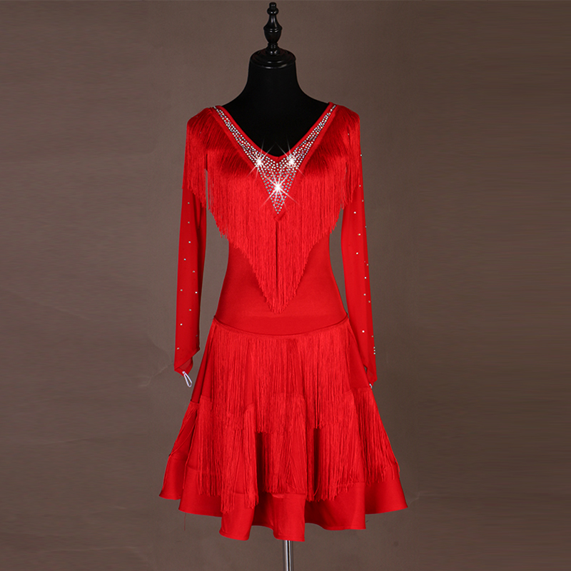 New Red Sexy V-neck Adult Professional Women Latin Dance Fringed Dress Three Steps Step On Jitba Group Performance Clothes