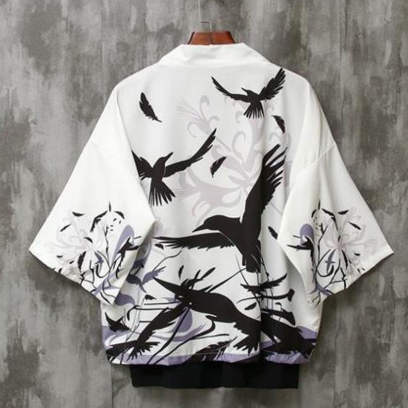2020 Spring Men Japanese Style Fashion Punk Jacket Cardigan Printed Kimono Tops Tees Shirt Outfits Beach Wear Clothes Plus Size