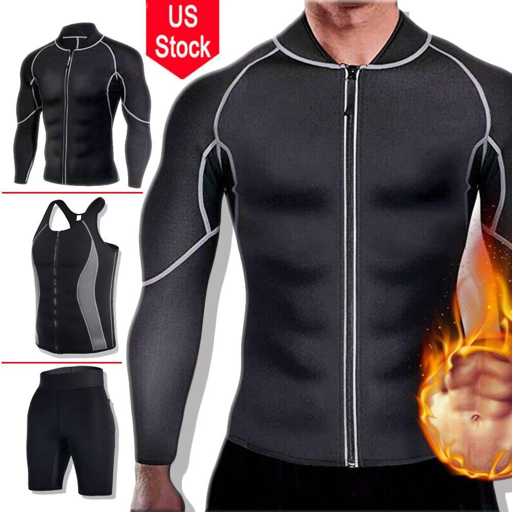 Men's Slim Body Shaper Neoprene Sweat Vest Sauna Suit Weight Loss Fitness Long Sleeve Zipper Workout Shirt Slimming Trimmer Pant