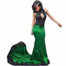 Сексуальное черное кружевное вечернее платье русалки с лямкой
