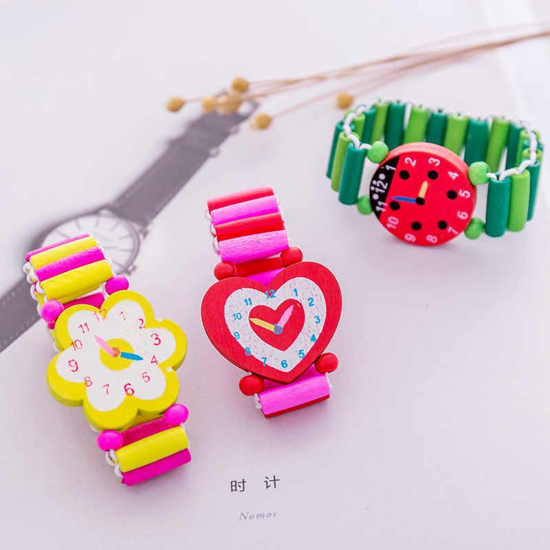 1PC bransoletka dla dzieci drewniany elastyczny zegarek z branzoletką śliczne zabawki czas nauka zabawki edukacyjne Baby Shower dziewczyna chłopiec pamiątka świąteczne prezenty
