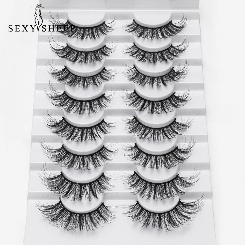 SEXYSHEEP 4/8 pairs 3D Mink Lashes Natural False Eyelashes Dramatic Volume Fake Lashes Makeup Eyelash Extension Silk Eyelashes(China)