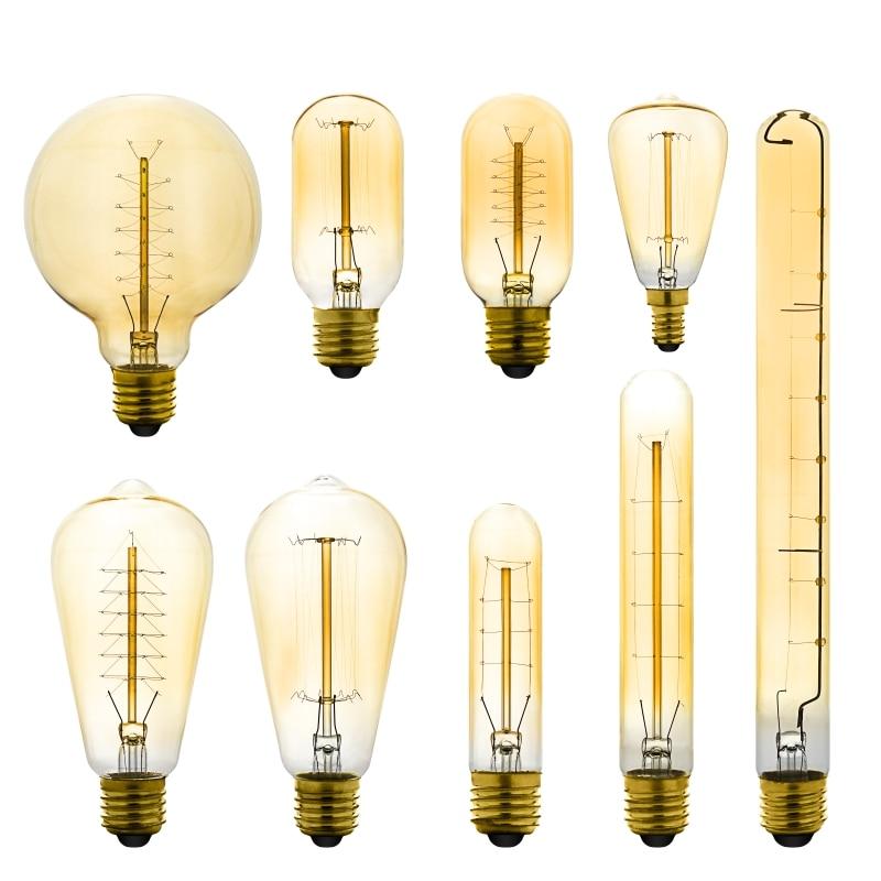 Retro Edison Light Bulb E27 220V 40W ST64 G80 G95 T10 T45 T185 A110 A60 Incandescent Ampoule Bulb Vintage Edison Filament Light