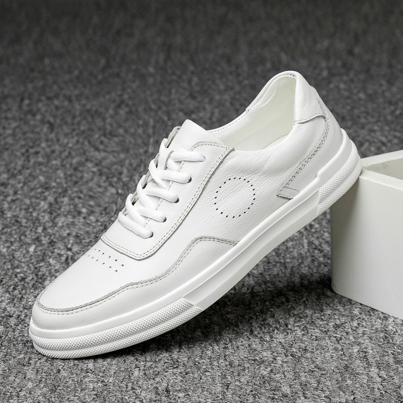 Genuine Leather Shoes Men Sneakers Casual Male Footwear Fashion Brand White Shoes Mens lace up business dress oxfords shoes s5