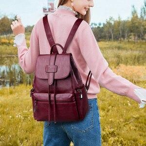 Image 2 - 2020 Leather Backpacks Women Casual Back pack Sac a Dos Femme Travel Backpack school bags for teenage girls mochila feminina