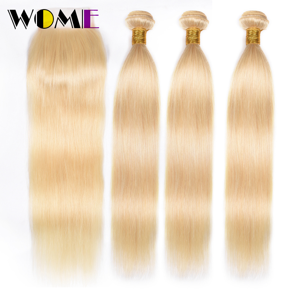 Wome 613 Blonde Bundles With Closure Indian Bundles Of Hair With Closure Straight Human Hair Weave Bundles With Closure Remy