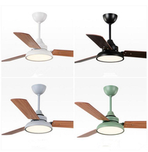 Nordic Industrial Wind Ceiling Fans 220V Wooden Ceiling Fans With Lights 42 Inch Blades Cooling Fans Remote Dimming Fan Lamp cheap Bing Vision Modern Remote Control Wedge ROHS Copper iron STAINLESS STEEL