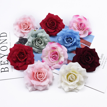 2/5/8 Pieces High quality flannel roses wedding decorative flower wall diy gifts box christmas decor for home artificial flowers image