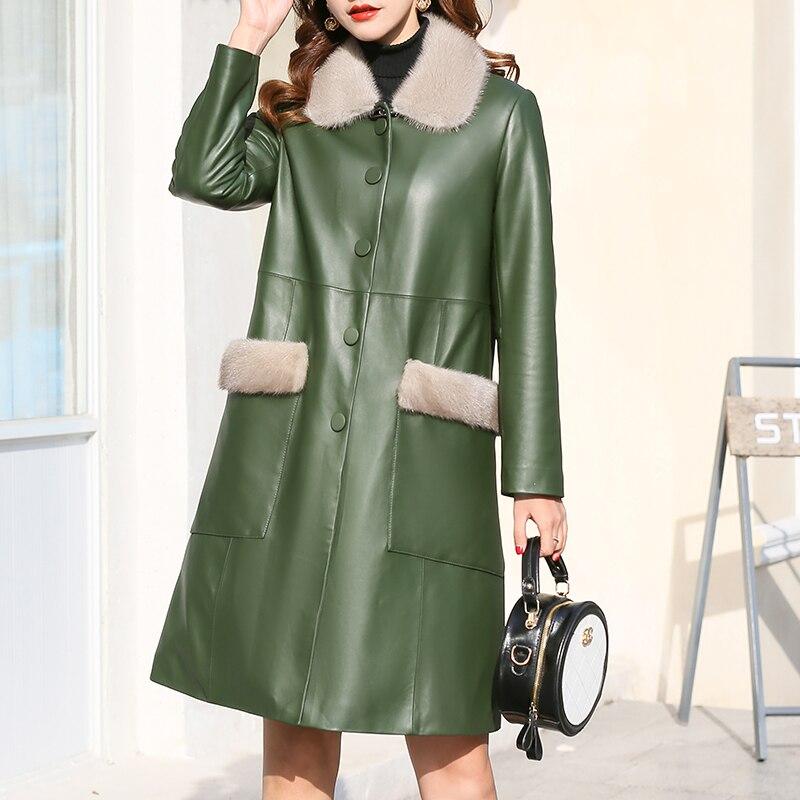 Mink Fur Collar Sheepskin Down Coat Female Genuine Leather Jacket Winter Coat Women Clothes 2020 Korean Vintage Long Tops ZT4923