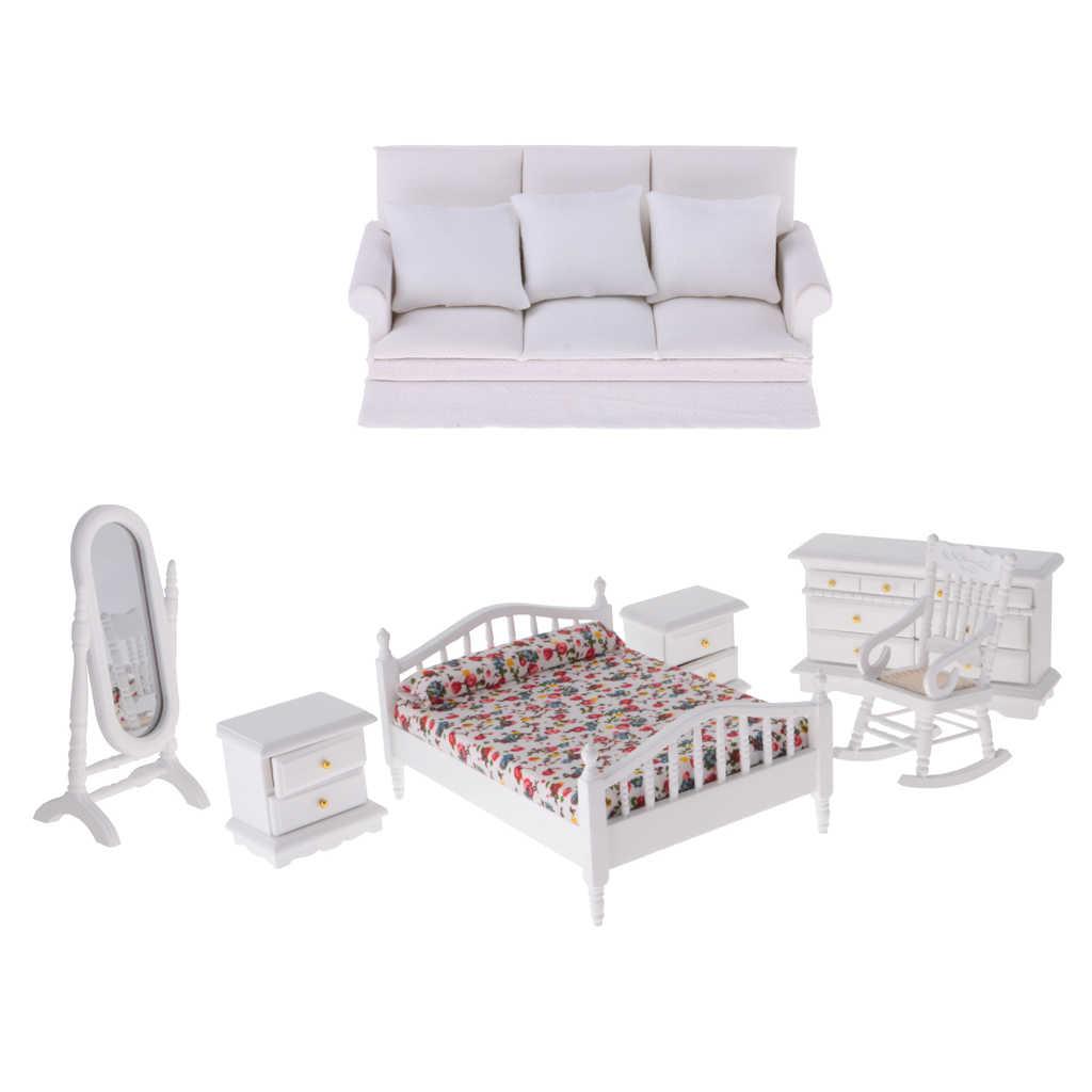 Estilo europeu 1/12 Kit Cama Almofadas Do Sofá da Mobília Do Quarto Dresser Espelho De Madeira Em Miniatura para Casa de Bonecas Decoração