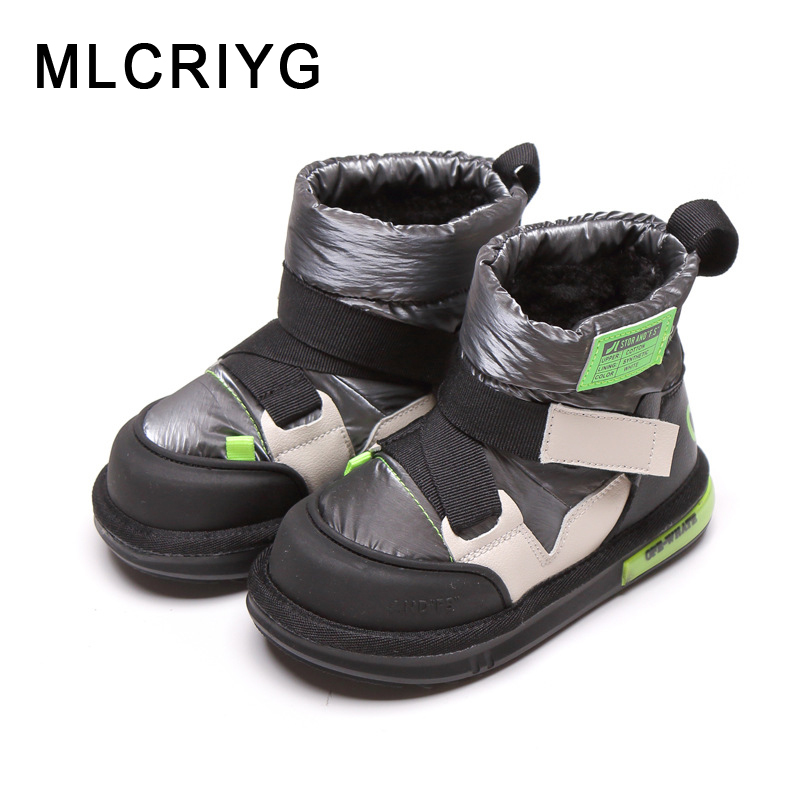 Winter Kids Snow Boots Children Warm Ankle Boots Baby Girls Leather Shoes Boys Black Brand Boots Fashion Casual Shoes Soft Boots