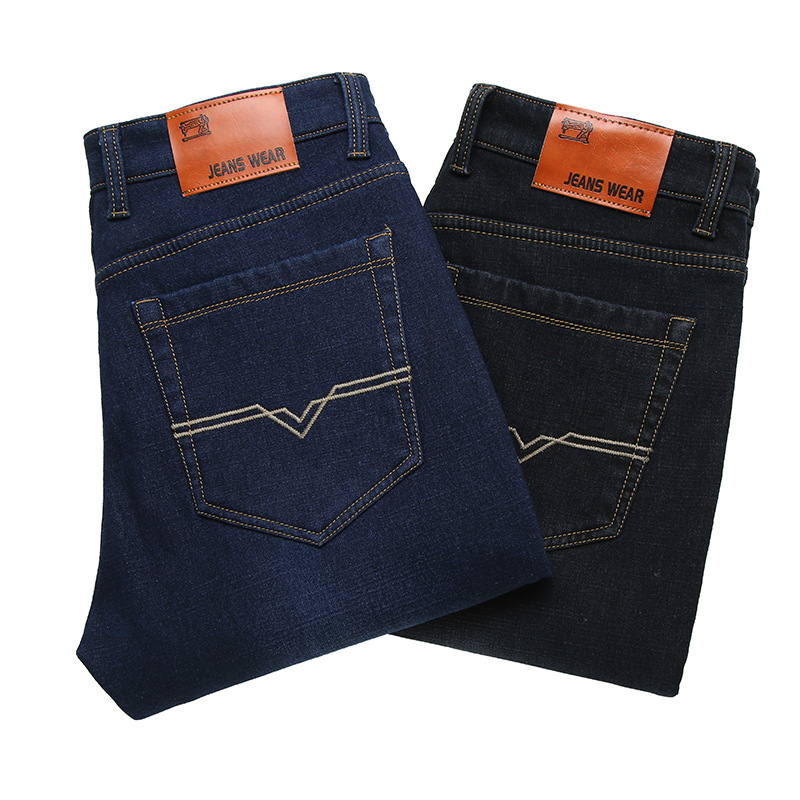 2018 Autumn And Winter Large Size Young And Middle-aged Straight-Cut Casual Brushed And Thick Warm Business Jeans Men's Versatil