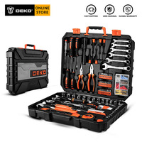 DEKO 208 Pcs Professional Car Repair Tool Set Auto Ratchet Spanner Screwdriver Socket Mechanics Tools Kit W/ Blow Molding Box