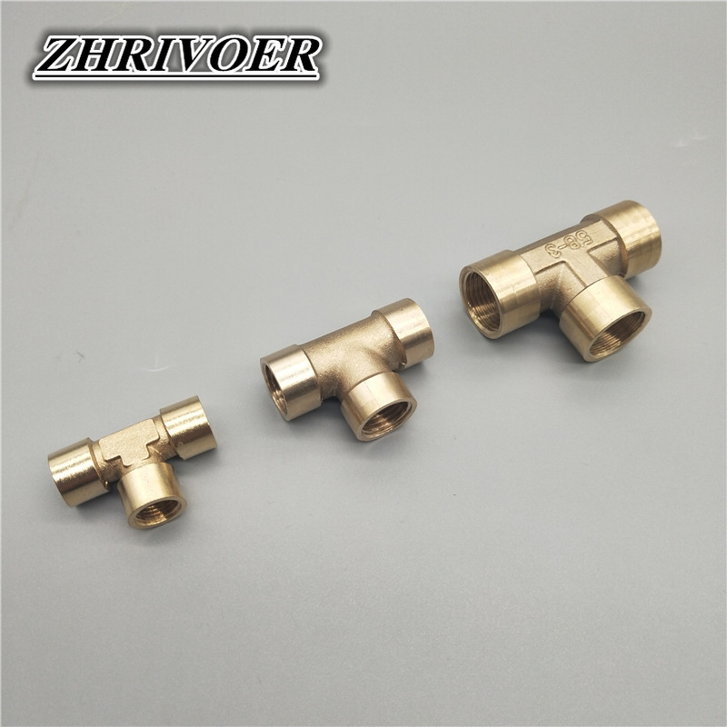 """1/8\"""" 1/4\"""" 3/8\"""" 1/2\"""" 3/4\"""" 1\"""" BSP Female Thread 3 Way Tee Type Brass Pipe Fitting Adapter Coupler Connector For Water Fuel Gas"""