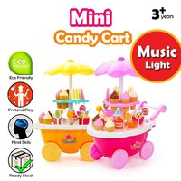 Zhenwei 1 Pack Sweet Shop Ice Cream Cart Toy Play Set with Music Christmas Gift Toys for Children Girls Shopping Cart Toy