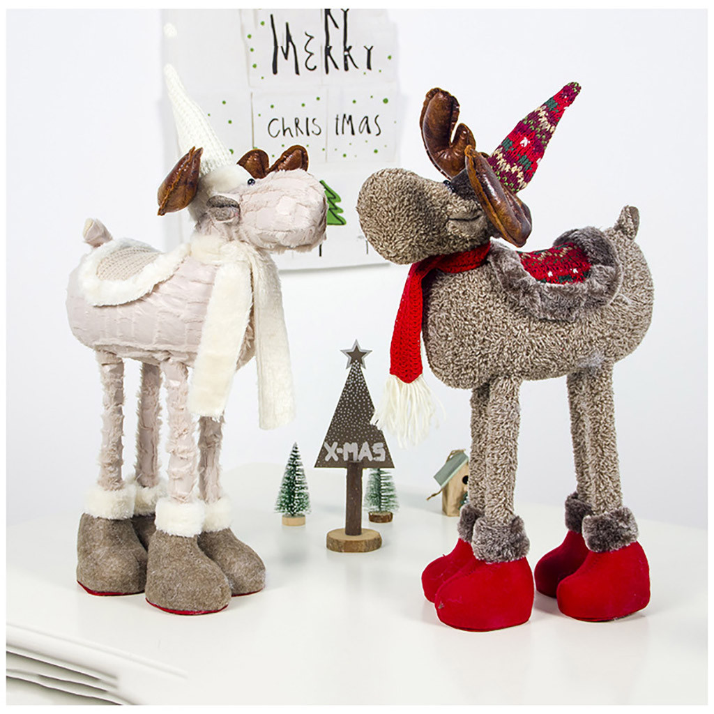 Stuffed & Plush Animals Christmas Ornaments Plush Retractable Feet Christmas Elk Doll Cloth Artistic Stuffed Animals & Plush