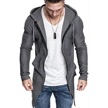 WENYUJH 2019 New Men's Long Cardigan Jacket Hooded Zipper Slim Fit Open Front Longline Cardigans with Pockets Men Sweater Jacket цена 2017