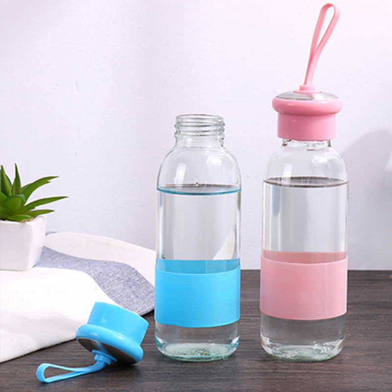 420ML Glass Water Bottle Outdoor Sports Portable Coffee Milk Water Bottles with Silicone Case Leakproof Travel Tea Cup Drinkware