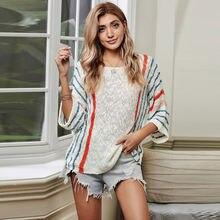Женский осенне зимний свободный тонкий свитер большого размера