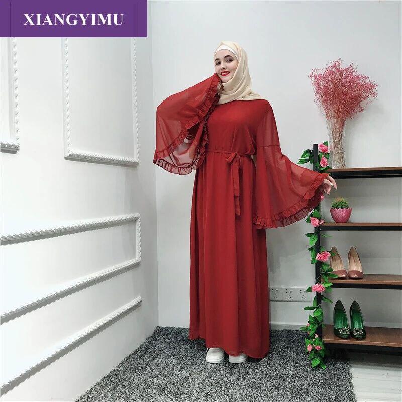 LR238-2 mode Robe Musulmane Abaya vêtements islamiques pour les femmes malaisie Jilbab Djellaba Robe Musulmane turc Baju Kimono caftan